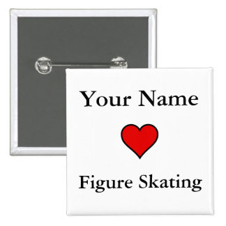(Your Name) Hearts Figure Skating 15 Cm Square Badge