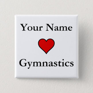 (Your Name) Hearts Gymnastics 15 Cm Square Badge