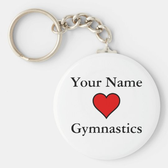 (Your Name) Hearts Gymnastics Basic Round Button Key Ring