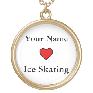 (Your Name) Hearts Ice Skating Gold Plated Necklace