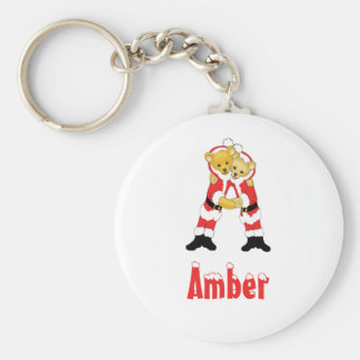 Your Name Here! Custom Letter A Teddy Bear Santas Basic Round Button Key Ring