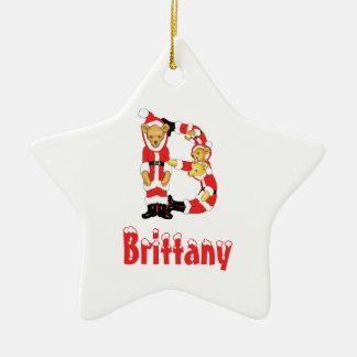 Your Name Here! Custom Letter B Teddy Bear Santas Christmas Ornament