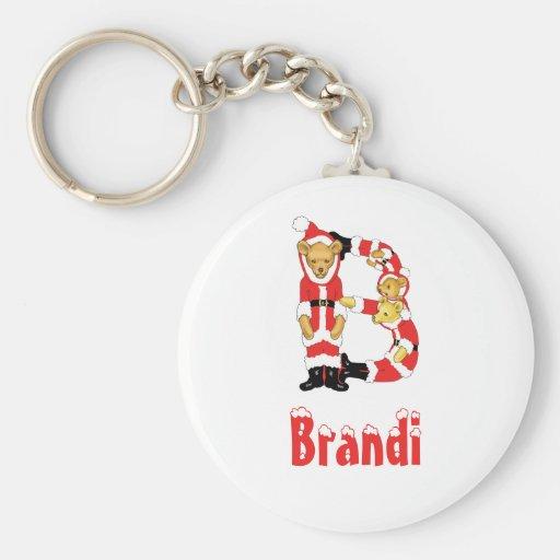 Your Name Here! Custom Letter B Teddy Bear Santas Keychain