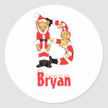 Your Name Here! Custom Letter B Teddy Bear Santas Round Stickers