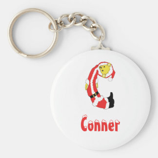 Your Name Here! Custom Letter C Teddy Bear Santas Basic Round Button Key Ring