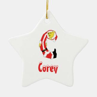 Your Name Here! Custom Letter C Teddy Bear Santas Christmas Ornament