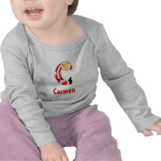 Your Name Here! Custom Letter C Teddy Bear Santas T-shirts