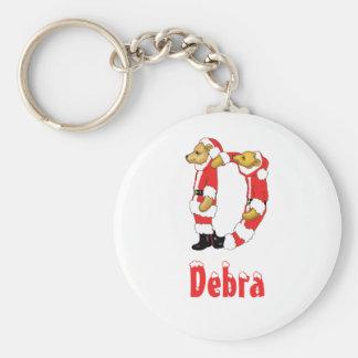 Your Name Here! Custom Letter D Teddy Bear Santas Basic Round Button Key Ring