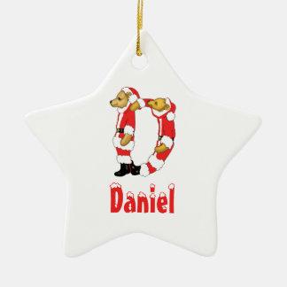 Your Name Here! Custom Letter D Teddy Bear Santas Christmas Ornament