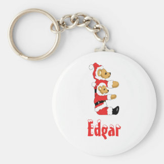 Your Name Here! Custom Letter E Teddy Bear Santas Basic Round Button Key Ring