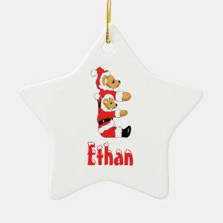 Your Name Here! Custom Letter E Teddy Bear Santas Christmas Ornament