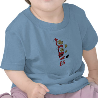 Your Name Here! Custom Letter E Teddy Bear Santas T-shirts