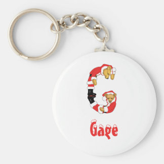 Your Name Here! Custom Letter G Teddy Bear Santas Basic Round Button Key Ring
