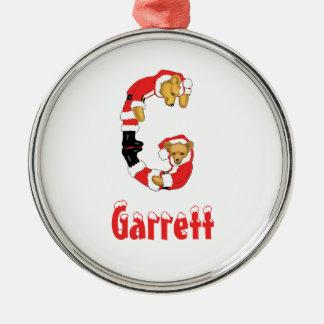 Your Name Here! Custom Letter G Teddy Bear Santas Christmas Ornament