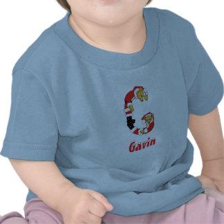 Your Name Here! Custom Letter G Teddy Bear Santas T Shirts