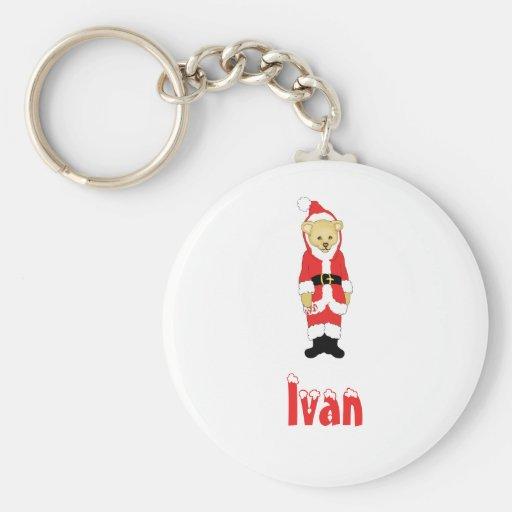 Your Name Here! Custom Letter I Teddy Bear Santas Keychains