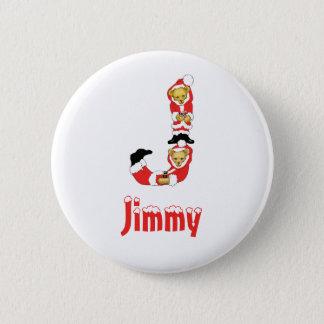 Your Name Here! Custom Letter J Teddy Bear Santas 6 Cm Round Badge