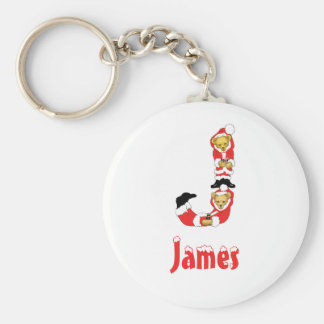 Your Name Here! Custom Letter J Teddy Bear Santas Basic Round Button Key Ring