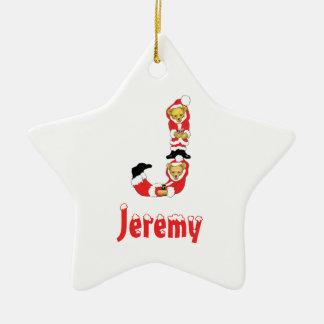 Your Name Here! Custom Letter J Teddy Bear Santas Christmas Ornament