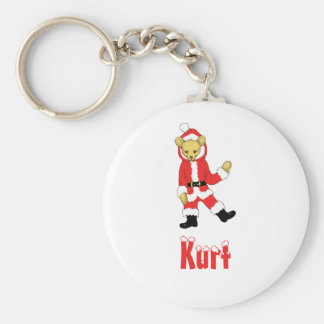 Your Name Here! Custom Letter K Teddy Bear Santas Basic Round Button Key Ring