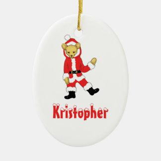Your Name Here! Custom Letter K Teddy Bear Santas Christmas Ornament