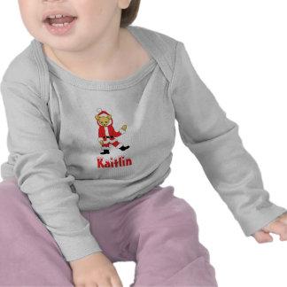 Your Name Here! Custom Letter K Teddy Bear Santas T Shirts