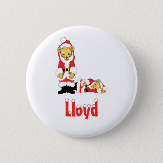 Your Name Here! Custom Letter L Teddy Bear Santas 6 Cm Round Badge