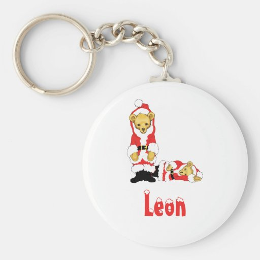 Your Name Here! Custom Letter L Teddy Bear Santas Key Chains