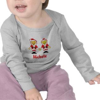 Your Name Here Custom Letter M Teddy Bear Santas Tshirt