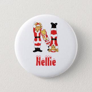 Your Name Here! Custom Letter N Teddy Bear Santas 6 Cm Round Badge