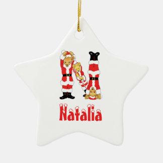 Your Name Here! Custom Letter N Teddy Bear Santas Christmas Ornament