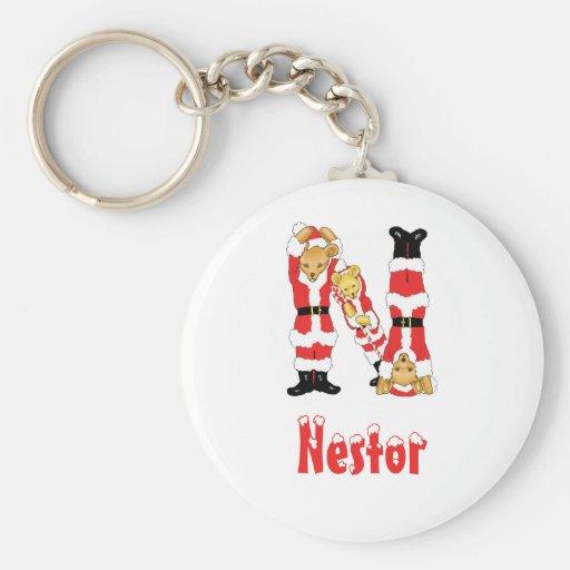 Your Name Here! Custom Letter N Teddy Bear Santas Keychain