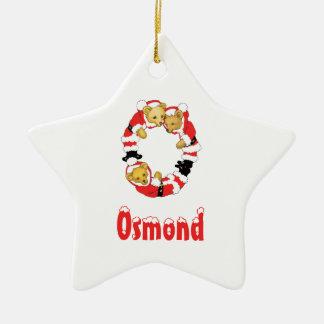 Your Name Here! Custom Letter O Teddy Bear Santas Ceramic Star Decoration