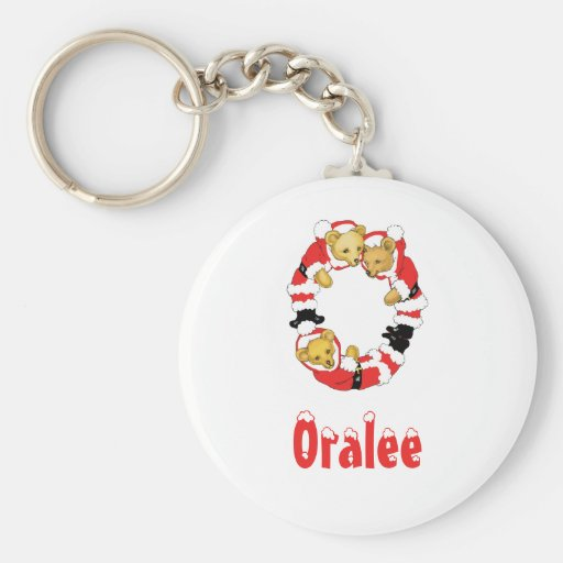Your Name Here! Custom Letter O Teddy Bear Santas Key Chains
