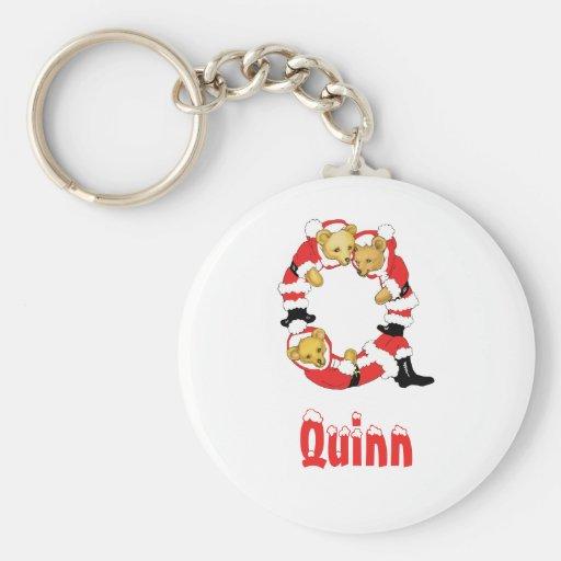 Your Name Here! Custom Letter Q Teddy Bear Santas Key Chain
