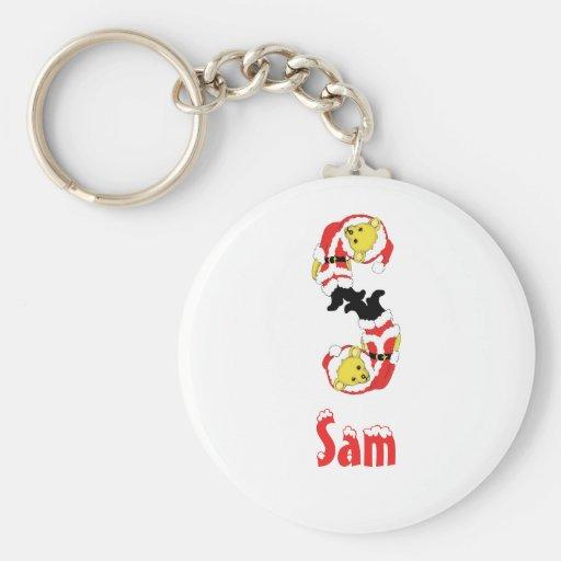 Your Name Here! Custom Letter S Teddy Bear Santas Keychain
