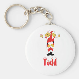 Your Name Here! Custom Letter T Teddy Bear Santas Basic Round Button Key Ring