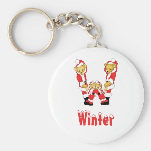 Your Name Here! Custom Letter W Teddy Bear Santas Keychain