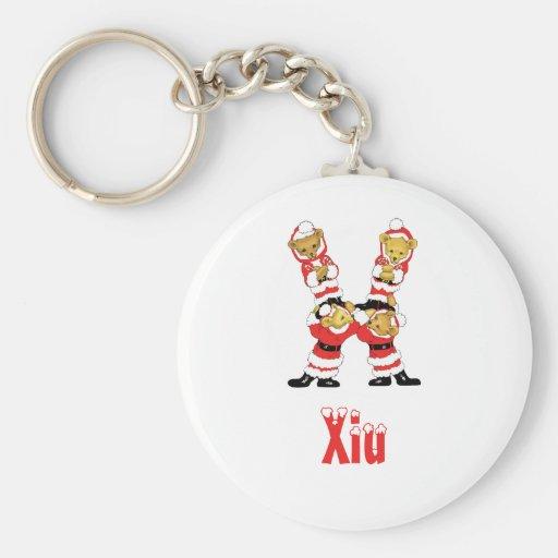 Your Name Here! Custom Letter X Teddy Bear Santas Key Chains