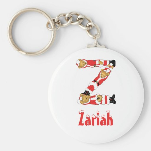 Your Name Here! Custom Letter Z Teddy Bear Santas Keychains