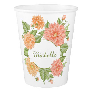 Your Name in a Flower Frame paper cups