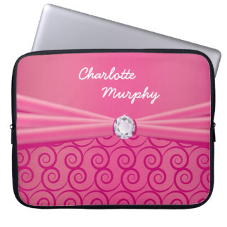 Your Name Jewel Silk Pink Laptop Computer Sleeve