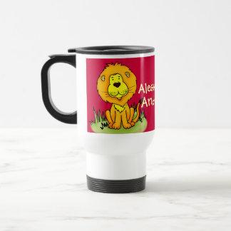 """Your name""  kids lion red travel / club mug"