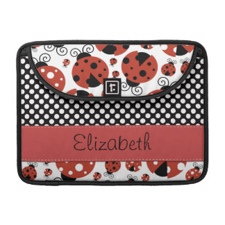 Your Name - Ladybugs, Ladybirds - Red Black Sleeve For MacBooks
