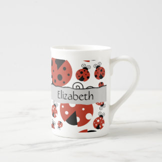 Your Name - Ladybugs, Ladybirds - Red Black Tea Cup
