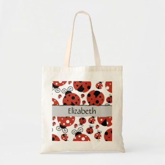 Your Name - Ladybugs (Ladybirds) - Red Black Budget Tote Bag