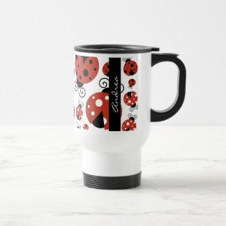 Your Name - Ladybugs, Ladybirds - Red Black Travel Mug