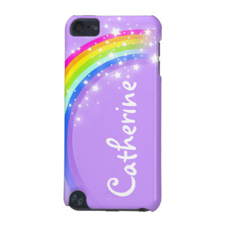"""Your name"" (long) rainbow violet girls ipod case"