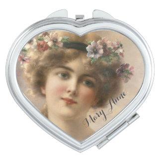 Your Name Lovely Romantic Vintage Woman Portrait Mirror For Makeup