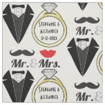Your Name Mr Mrs Lips Moustache Ring Tuxedo Fabric
